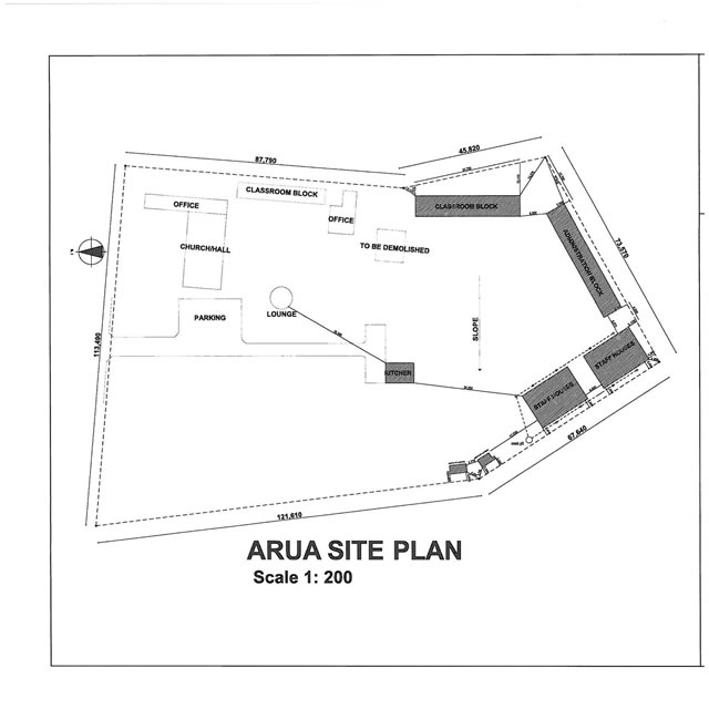 Site plan for school at Onialeku