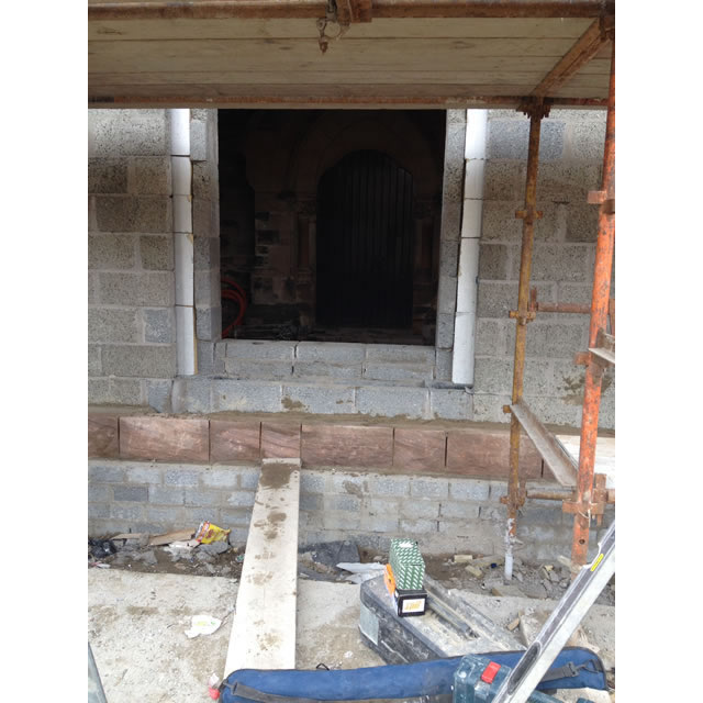 Wall stonework underway